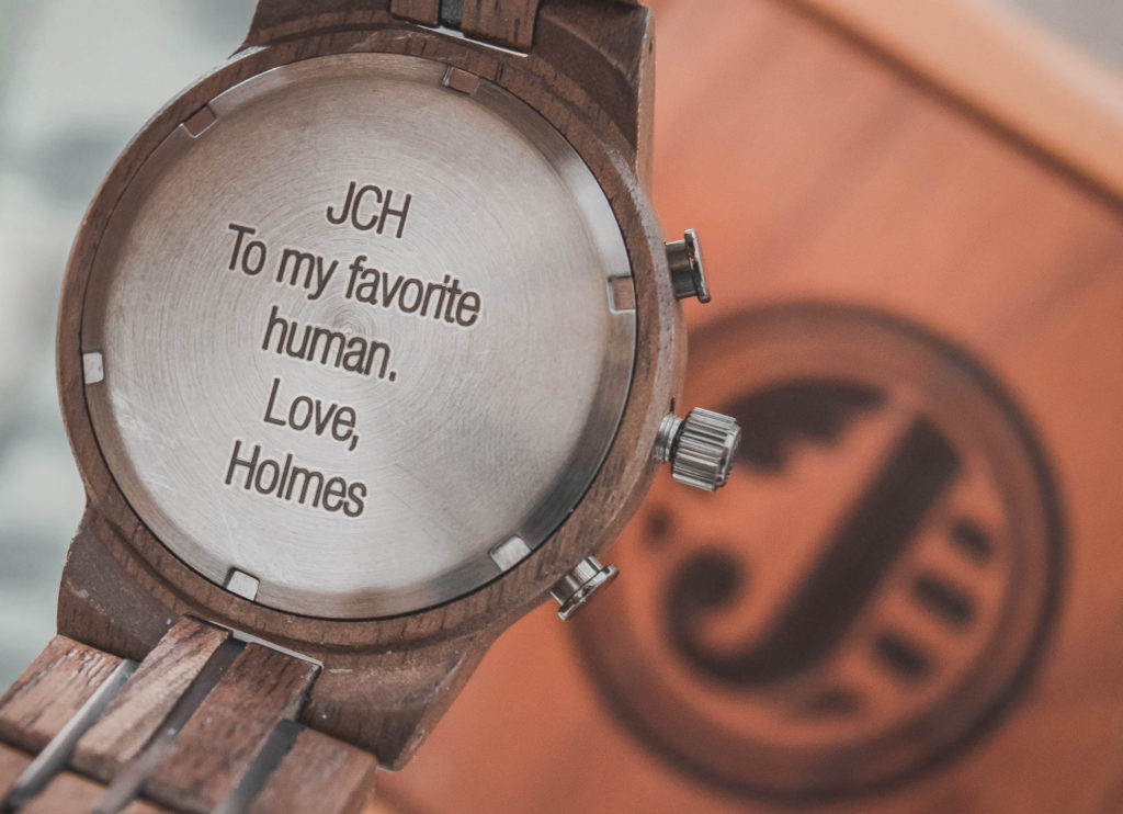 engraved watch for Valentines Day, unique women's watch, unique men's watch, personalized watches for him, personalized watches for her, unique women's watch for Valentine's Day, unique men's watch for Valenitne's Day, wood watch, chronograph watch, engraved watch, men's wood watch